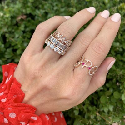 Personalisierter Pave Initial Ring in Silber