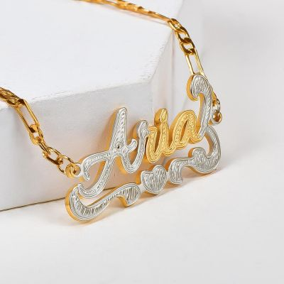 Heart Two Tone Gold Plated Personalized  Name Anklet